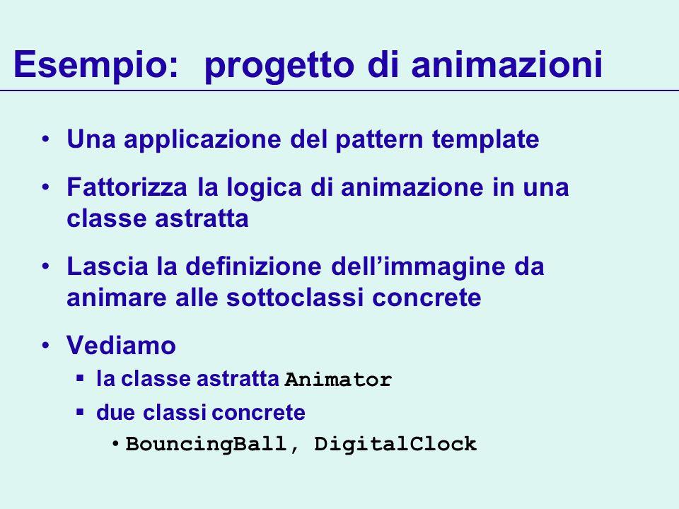 Esempio: progetto di animazioni Una applicazione del pattern template Fattorizza la logica di animazione in una classe astratta Lascia la definizione dellimmagine da animare alle sottoclassi concrete Vediamo la classe astratta Animator due classi concrete BouncingBall, DigitalClock