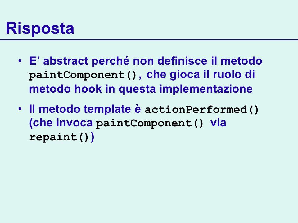 Risposta E abstract perché non definisce il metodo paintComponent(), che gioca il ruolo di metodo hook in questa implementazione Il metodo template è actionPerformed() (che invoca paintComponent() via repaint() )