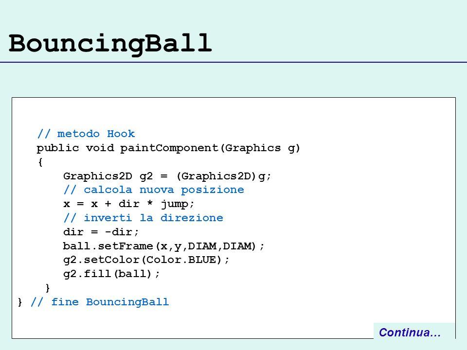 BouncingBall // metodo Hook public void paintComponent(Graphics g) { Graphics2D g2 = (Graphics2D)g; // calcola nuova posizione x = x + dir * jump; // inverti la direzione dir = -dir; ball.setFrame(x,y,DIAM,DIAM); g2.setColor(Color.BLUE); g2.fill(ball); } } // fine BouncingBall Continua…