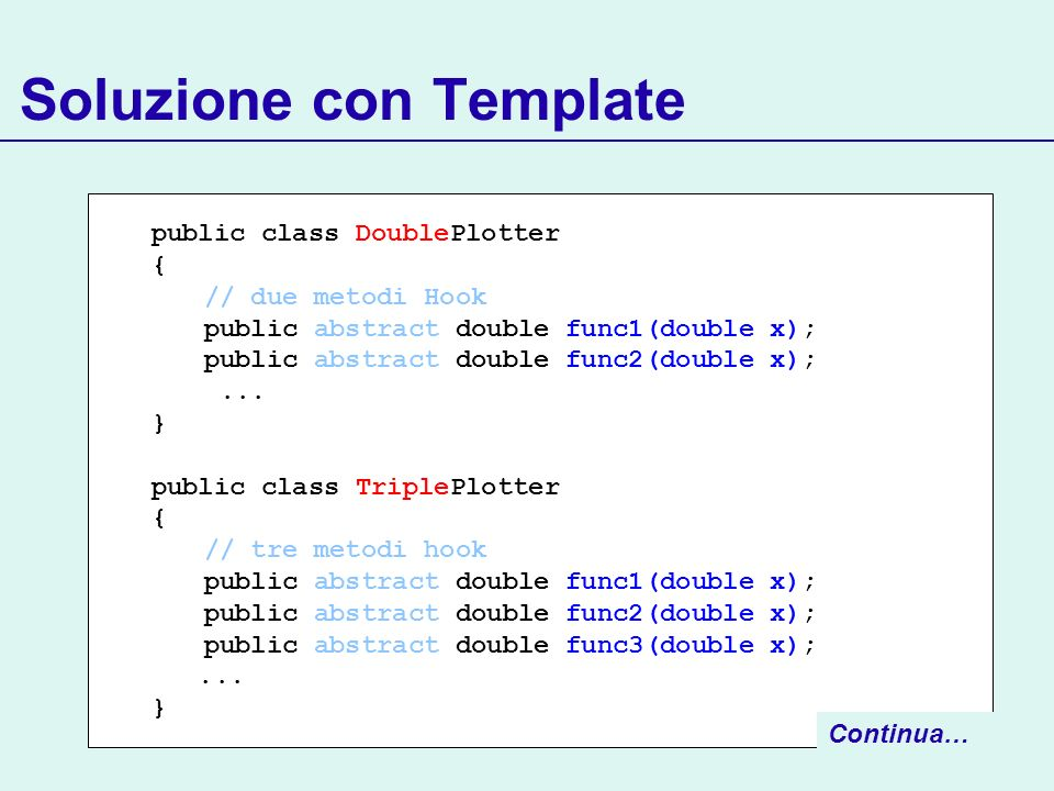 Soluzione con Template public class DoublePlotter { // due metodi Hook public abstract double func1(double x); public abstract double func2(double x);