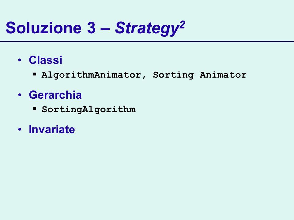 Soluzione 3 – Strategy 2 Classi AlgorithmAnimator, Sorting Animator Gerarchia SortingAlgorithm Invariate