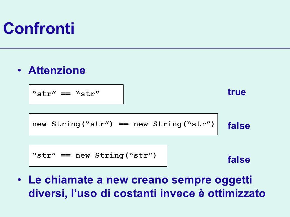Confronti Attenzione Le chiamate a new creano sempre oggetti diversi, luso di costanti invece è ottimizzato str == str new String(str) == new String(s
