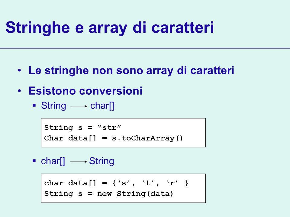 Stringhe e array di caratteri Le stringhe non sono array di caratteri Esistono conversioni String char[] char[] String char data[] = {s, t, r } String