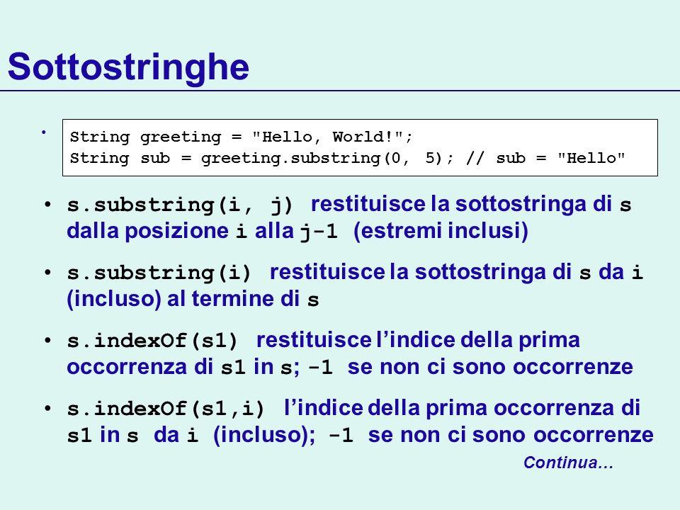Sottostringhe s.substring(i, j) restituisce la sottostringa di s dalla posizione i alla j-1 (estremi inclusi) s.substring(i) restituisce la sottostrin