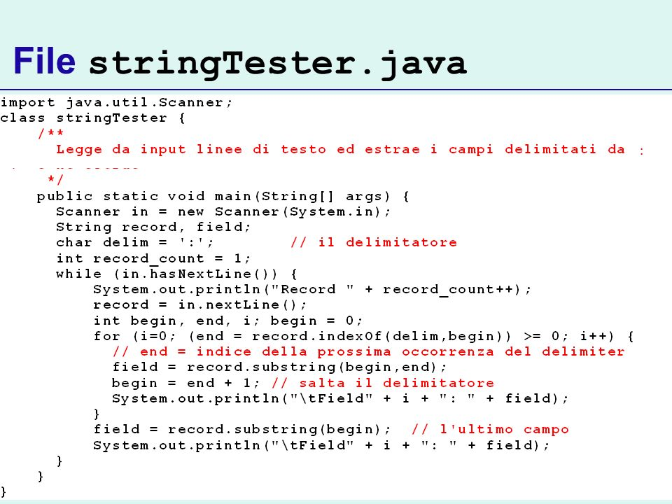 File stringTester.java :