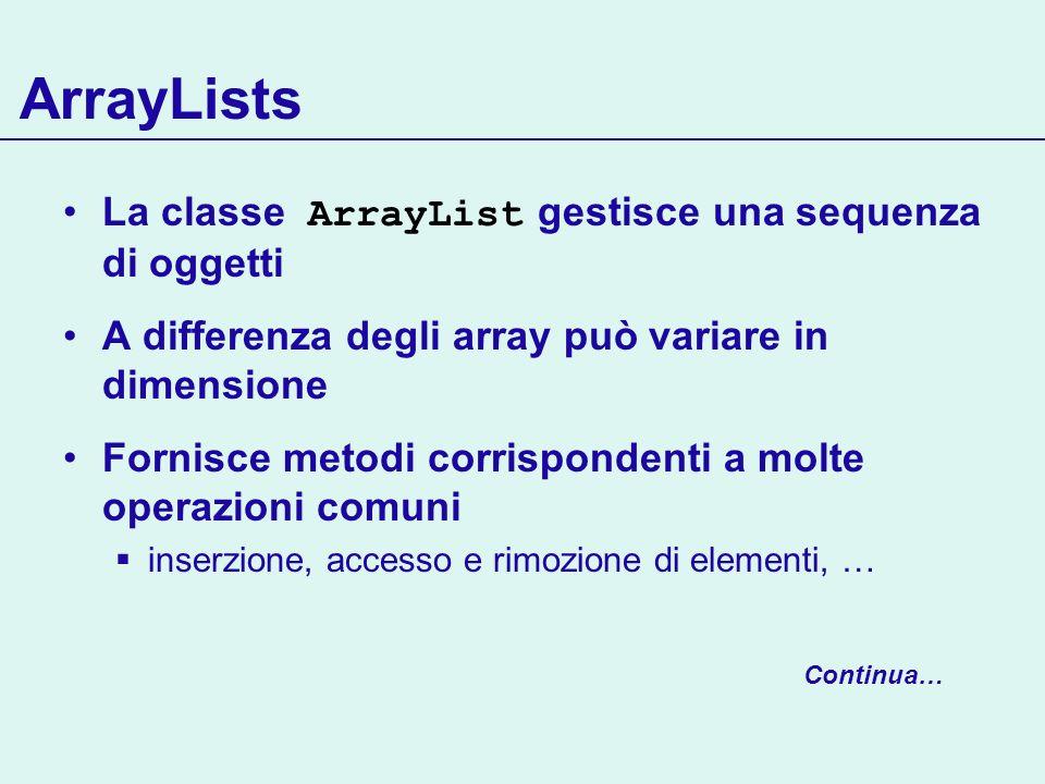 ArrayLists La classe ArrayList gestisce una sequenza di oggetti A differenza degli array può variare in dimensione Fornisce metodi corrispondenti a mo