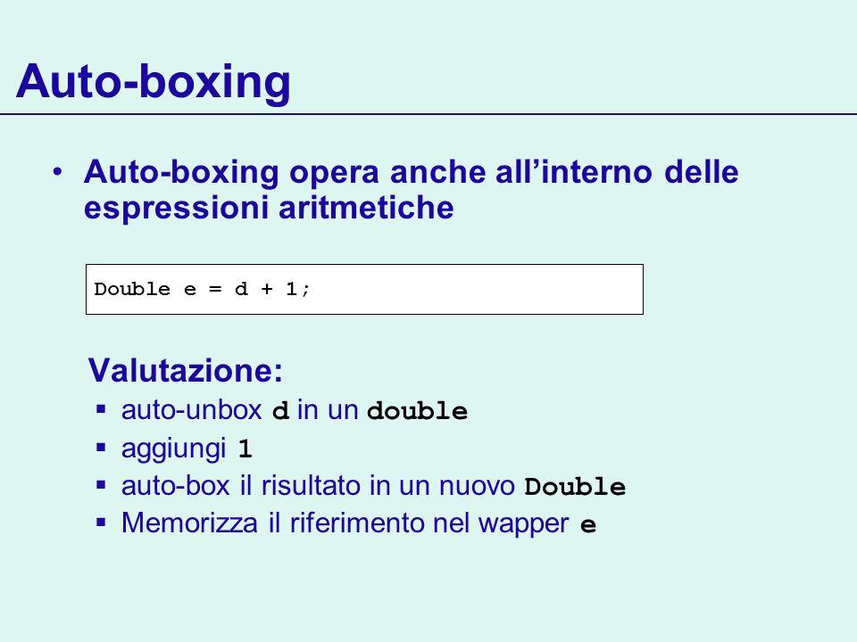 Auto-boxing Auto-boxing opera anche allinterno delle espressioni aritmetiche Valutazione: auto-unbox d in un double aggiungi 1 auto-box il risultato i