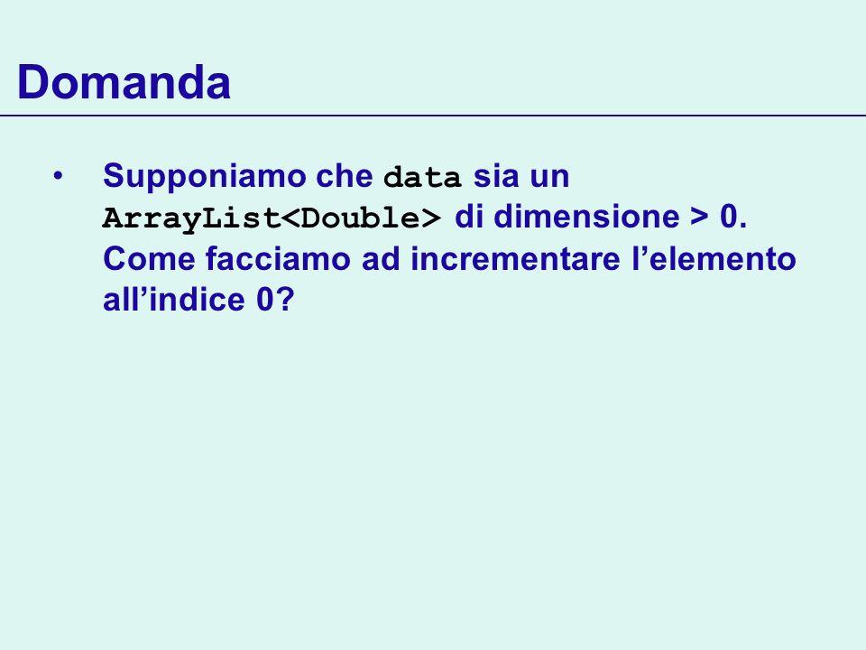 Domanda Supponiamo che data sia un ArrayList di dimensione > 0. Come facciamo ad incrementare lelemento allindice 0?
