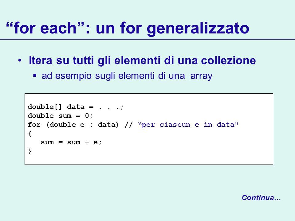for each: un for generalizzato Itera su tutti gli elementi di una collezione ad esempio sugli elementi di una array Continua… double[] data =...; doub