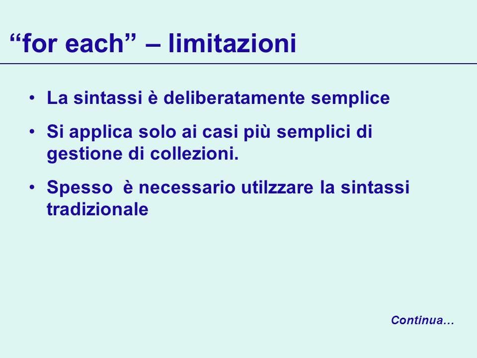 for each – limitazioni La sintassi è deliberatamente semplice Si applica solo ai casi più semplici di gestione di collezioni. Spesso è necessario util