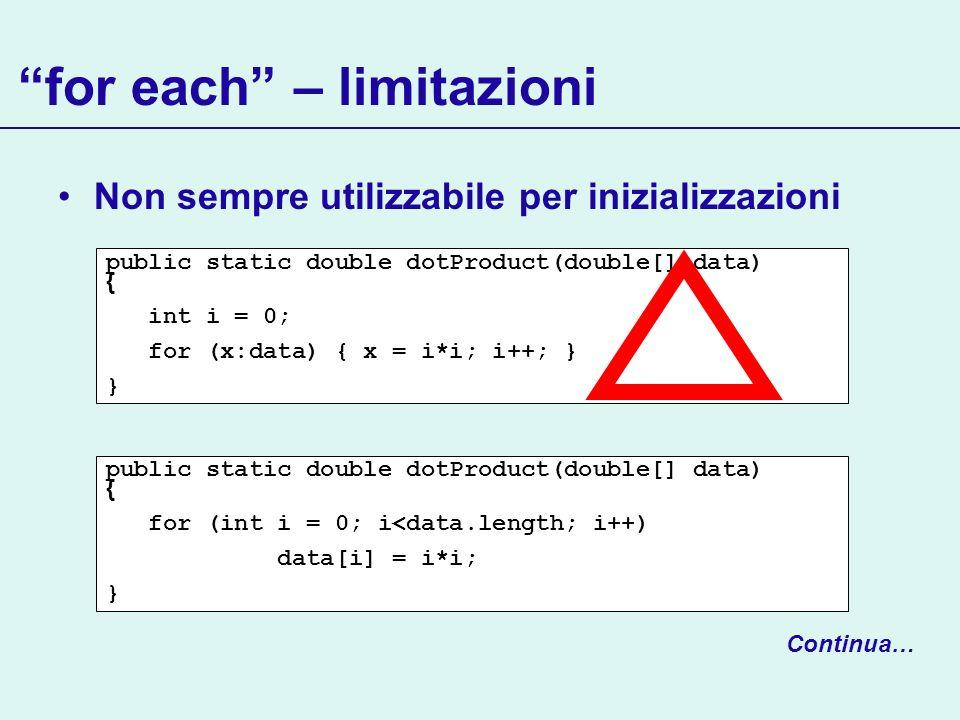for each – limitazioni Non sempre utilizzabile per inizializzazioni public static double dotProduct(double[] data) { int i = 0; for (x:data) { x = i*i