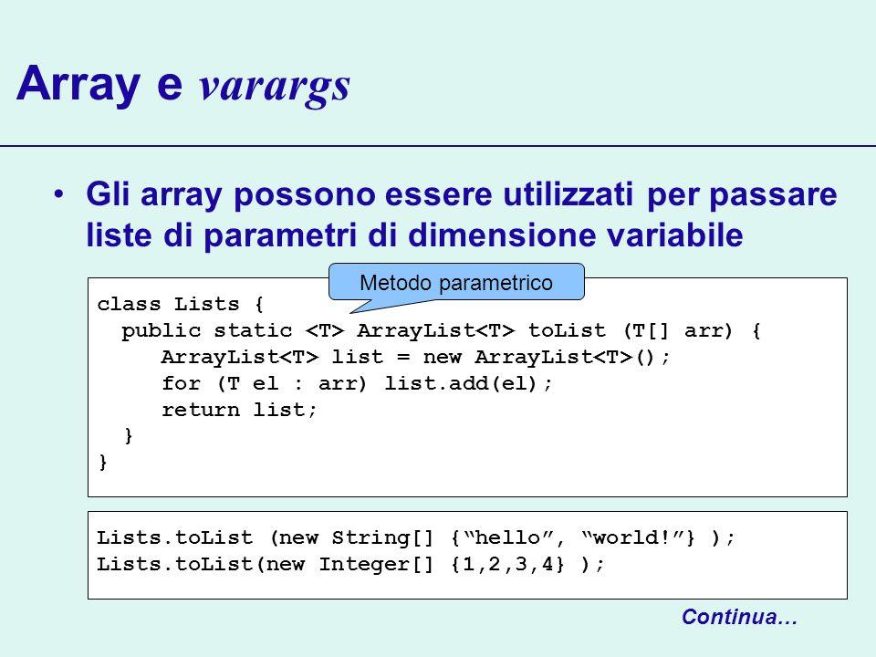 Array e varargs Gli array possono essere utilizzati per passare liste di parametri di dimensione variabile class Lists { public static ArrayList toLis