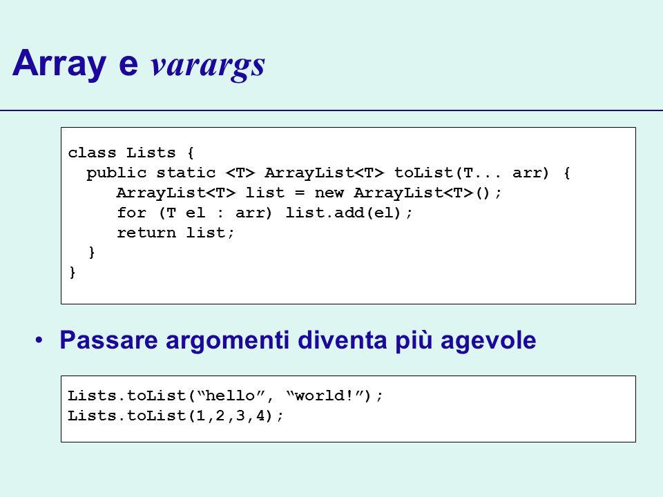 Array e varargs Passare argomenti diventa più agevole Lists.toList(hello, world!); Lists.toList(1,2,3,4); class Lists { public static ArrayList toList