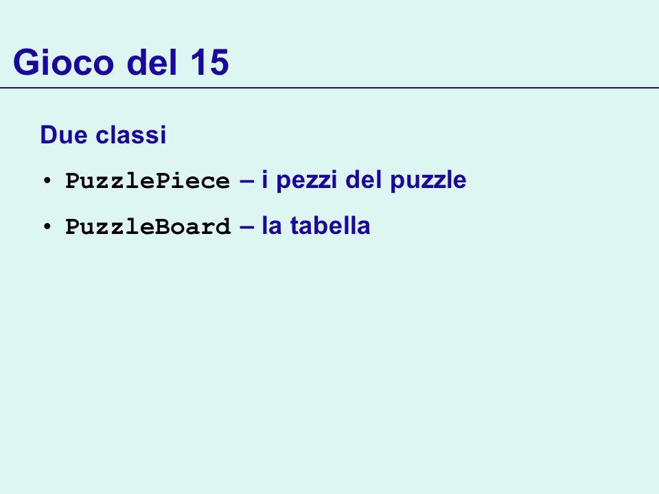 Gioco del 15 Due classi PuzzlePiece – i pezzi del puzzle PuzzleBoard – la tabella