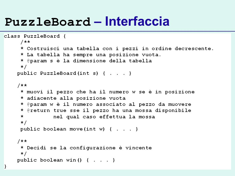 PuzzleBoard – Interfaccia