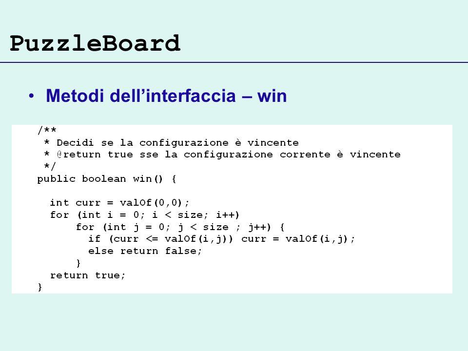PuzzleBoard Metodi dellinterfaccia – win