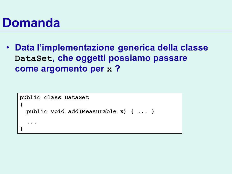 Domanda Data limplementazione generica della classe DataSet, che oggetti possiamo passare come argomento per x .