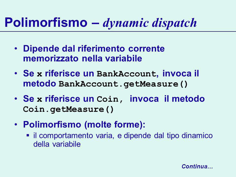 Polimorfismo – dynamic dispatch Dipende dal riferimento corrente memorizzato nella variabile Se x riferisce un BankAccount, invoca il metodo BankAccount.getMeasure() Se x riferisce un Coin, invoca il metodo Coin.getMeasure() Polimorfismo (molte forme): il comportamento varia, e dipende dal tipo dinamico della variabile Continua…