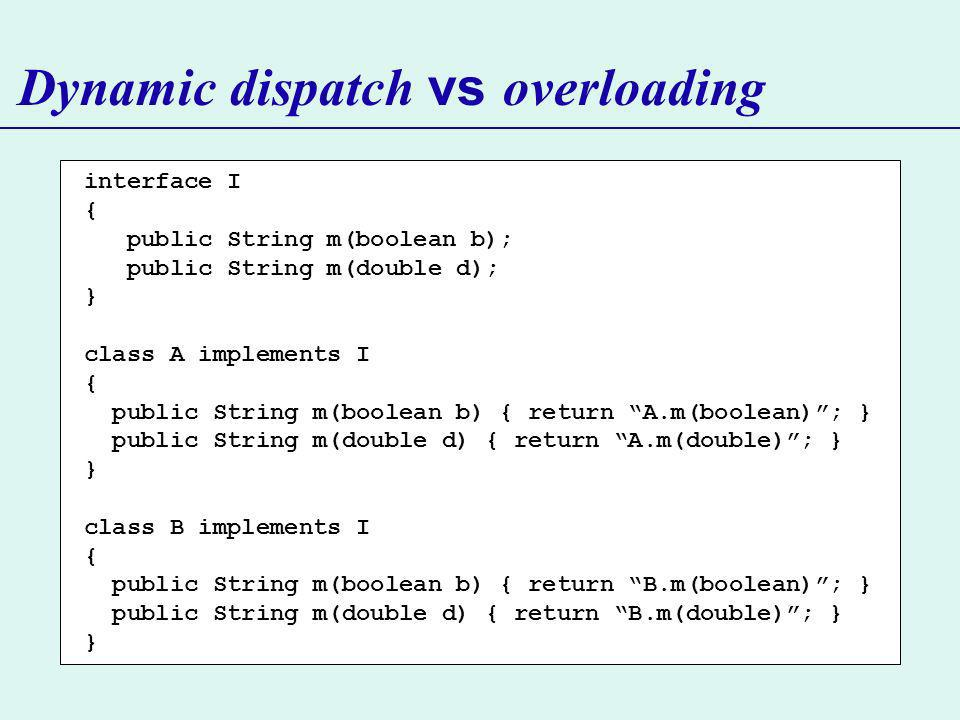 Dynamic dispatch vs overloading interface I { public String m(boolean b); public String m(double d); } class A implements I { public String m(boolean b) { return A.m(boolean); } public String m(double d) { return A.m(double); } } class B implements I { public String m(boolean b) { return B.m(boolean); } public String m(double d) { return B.m(double); } }