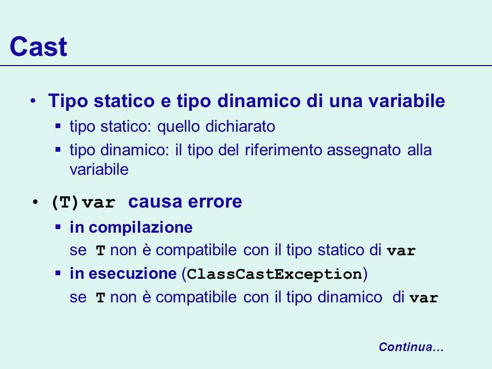 Cast Tipo statico e tipo dinamico di una variabile tipo statico: quello dichiarato tipo dinamico: il tipo del riferimento assegnato alla variabile (T)var causa errore in compilazione se T non è compatibile con il tipo statico di var in esecuzione ( ClassCastException ) se T non è compatibile con il tipo dinamico di var Continua…