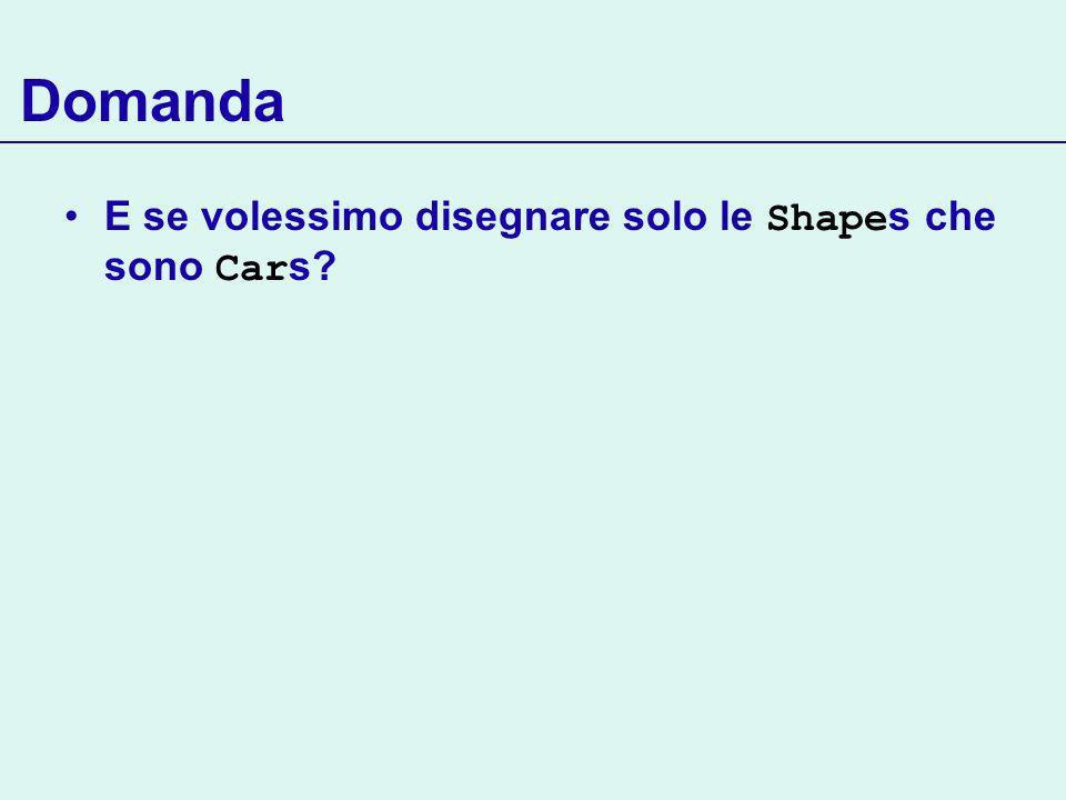 Domanda E se volessimo disegnare solo le Shape s che sono Car s