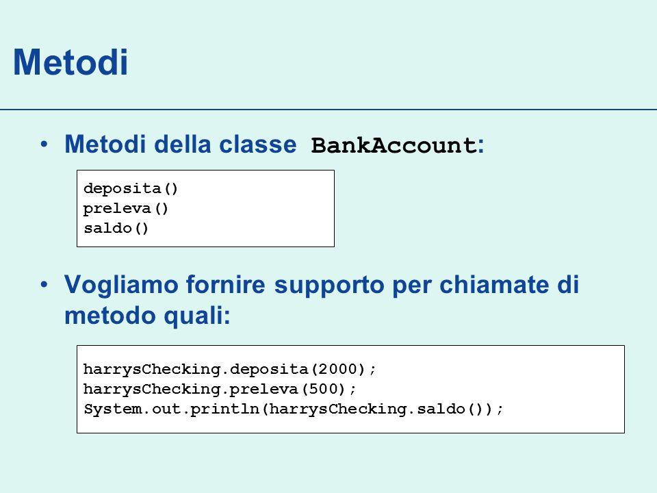 Metodi Specifica: livello di accesso ( public ) tipo del risultato ( String, …, void ) nome del metodo ( deposita ) lista di parametri per ciascun metodo ( double importo ) Continua…