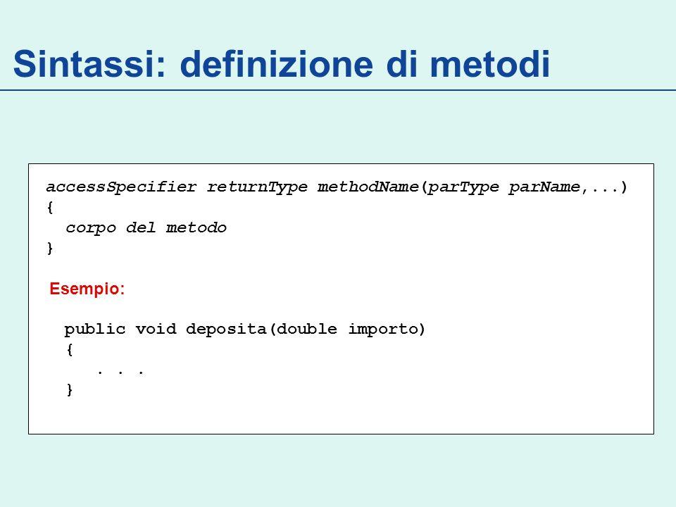 Costruttori e Inizializzazioni public class Init { // inizializzazioni esplicite: 1° private int id; private int x = 65; private String name; private Rectangle d = new Rectangle(); private static int nextId = 1; // blocco di inizializzazione: 2° { id = nextId; nextId = nextId +1; } // costruttori: 3° Init(String n){ name=n; } Init(String n, Rectangle d){ name=n;this.d=d; }