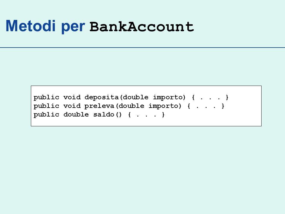 Costruttore Un costruttore inizializza i campi delloggetto creato Nome del costruttore = nome della classe public BankAccount() { // corpo...