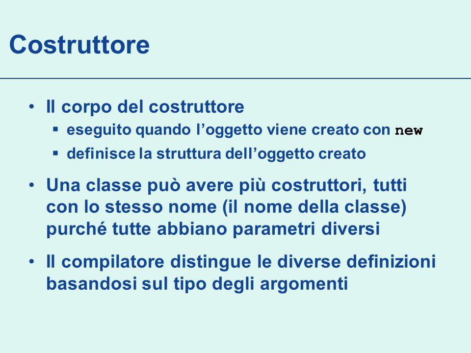 Scope e diritti di accesso public class A { private int privata; public int pubblica; private int privM (){ return privata; } public int pubM () { return privata + pubblica; } public int binM (A other){ return privata + other.privata;} } public class Test { public void accessi(){ A a1 = new A(); a1.privata = 3; // KO a1.pubblica = 6;// OK a1.privM(); // KO a1.pubM (); // OK A a2 = new A(); a2.binM(a1); // OK }