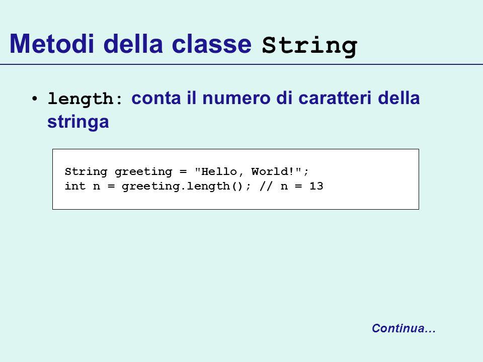 Metodi della classe String length: conta il numero di caratteri della stringa Continua… String greeting =