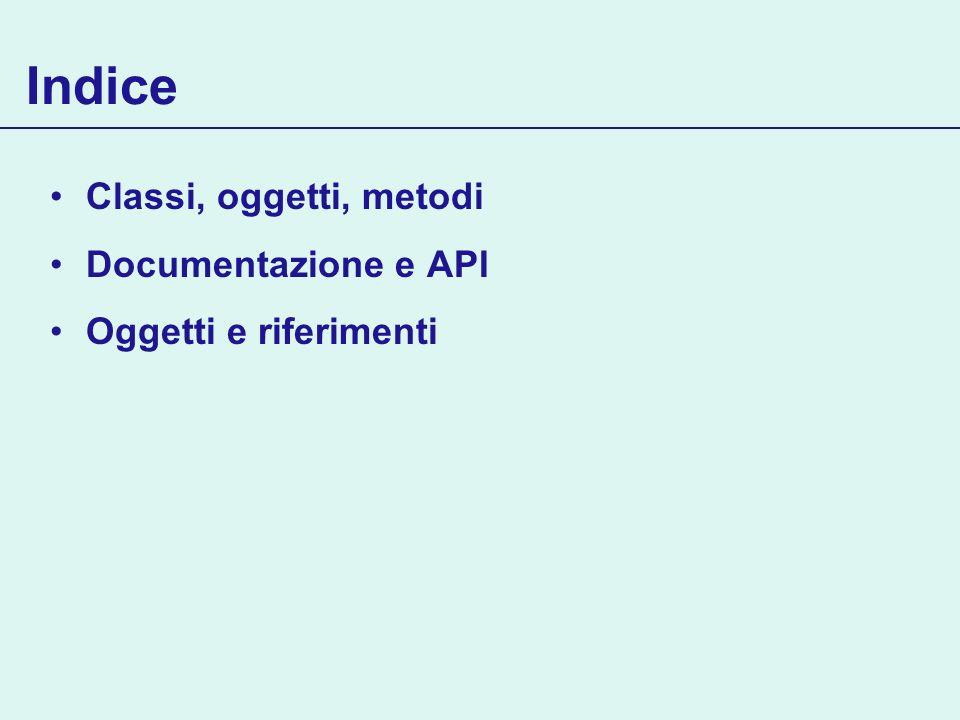 Indice Classi, oggetti, metodi Documentazione e API Oggetti e riferimenti