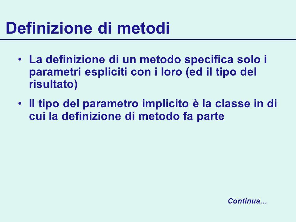 Definizione di metodi La definizione di un metodo specifica solo i parametri espliciti con i loro (ed il tipo del risultato) Il tipo del parametro imp