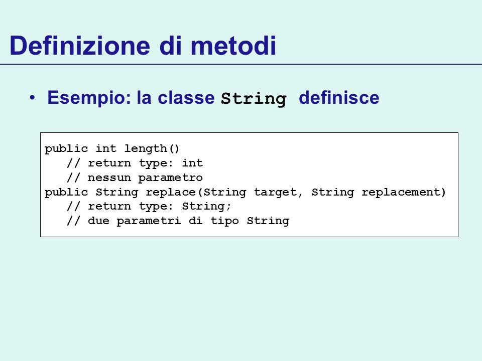 Definizione di metodi Esempio: la classe String definisce public int length() // return type: int // nessun parametro public String replace(String tar