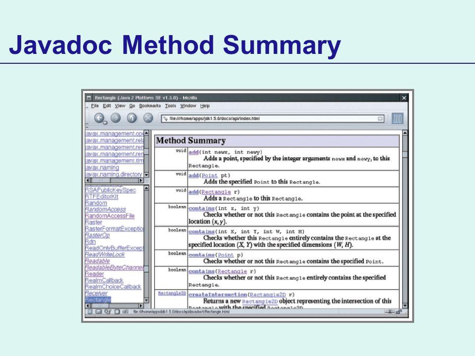 Javadoc Method Summary