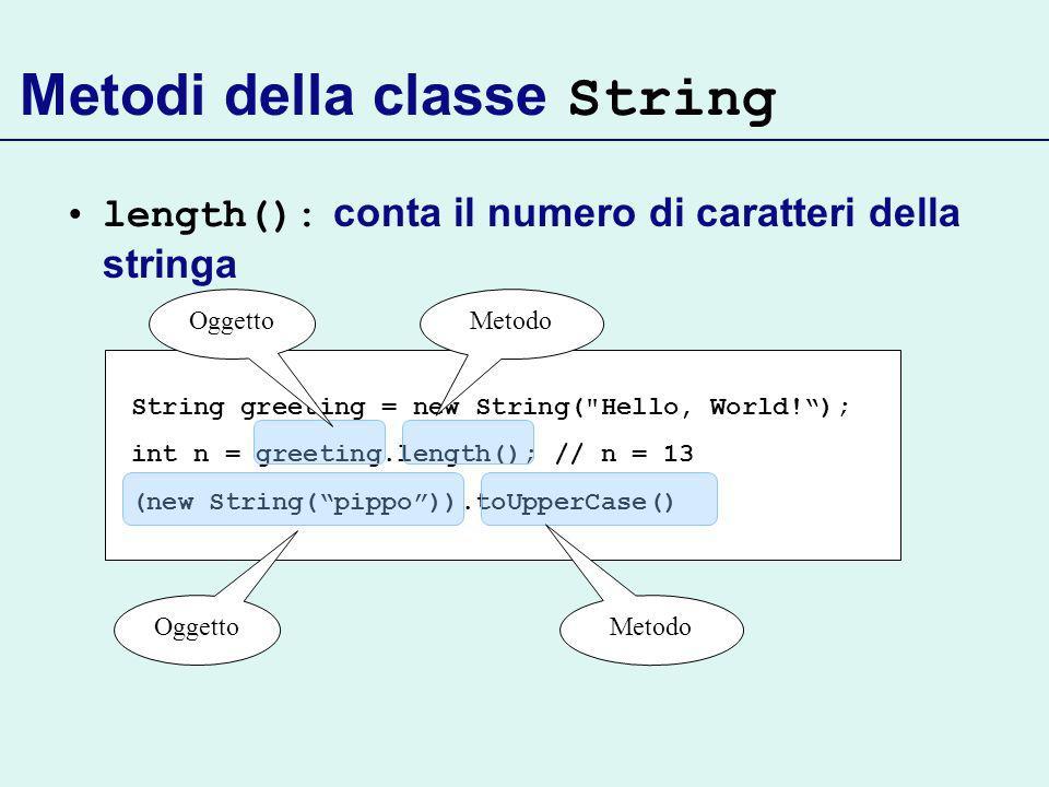 Metodi della classe String length(): conta il numero di caratteri della stringa String greeting = new String( Hello, World!); int n = greeting.length(); // n = 13 (new String(pippo)).toUpperCase() OggettoMetodo Oggetto Metodo