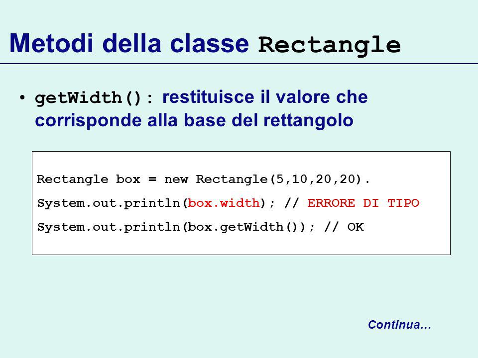 Metodi della classe Rectangle getWidth(): restituisce il valore che corrisponde alla base del rettangolo Continua… Rectangle box = new Rectangle(5,10,