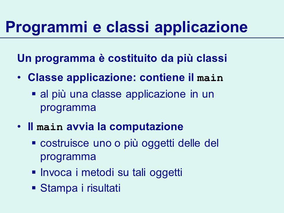 Programmi e classi applicazione Un programma è costituito da più classi Classe applicazione: contiene il main al più una classe applicazione in un programma Il main avvia la computazione costruisce uno o più oggetti delle del programma Invoca i metodi su tali oggetti Stampa i risultati