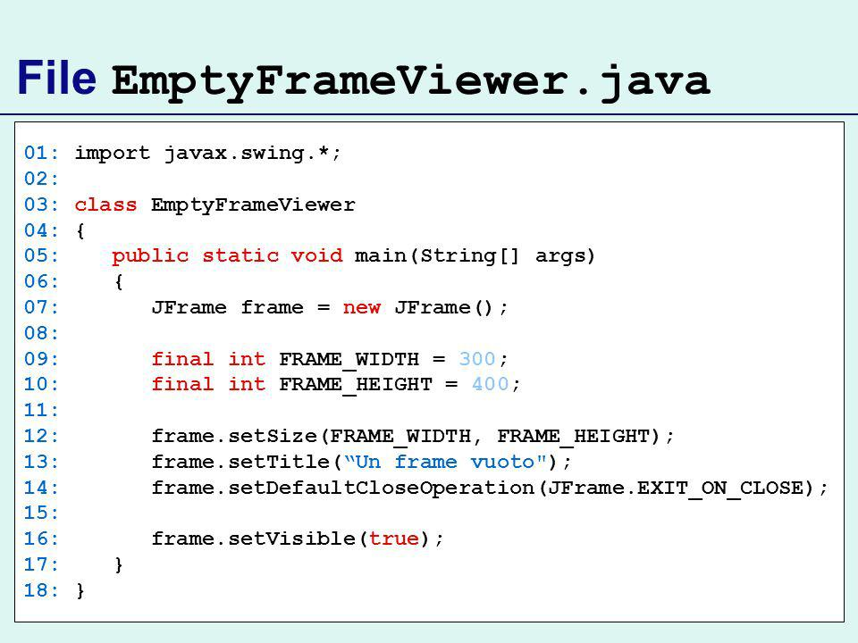 File EmptyFrameViewer.java 01: import javax.swing.*; 02: 03: class EmptyFrameViewer 04: { 05: public static void main(String[] args) 06: { 07: JFrame frame = new JFrame(); 08: 09: final int FRAME_WIDTH = 300; 10: final int FRAME_HEIGHT = 400; 11: 12: frame.setSize(FRAME_WIDTH, FRAME_HEIGHT); 13: frame.setTitle(Un frame vuoto ); 14: frame.setDefaultCloseOperation(JFrame.EXIT_ON_CLOSE); 15: 16: frame.setVisible(true); 17: } 18: }
