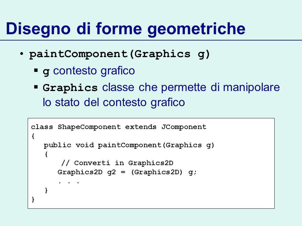 Disegno di forme geometriche paintComponent(Graphics g) g contesto grafico Graphics classe che permette di manipolare lo stato del contesto grafico class ShapeComponent extends JComponent { public void paintComponent(Graphics g) { // Converti in Graphics2D Graphics2D g2 = (Graphics2D) g;...