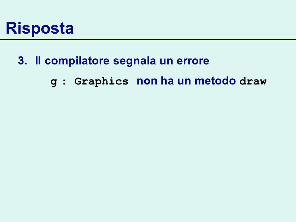 Risposta 3.Il compilatore segnala un errore g : Graphics non ha un metodo draw