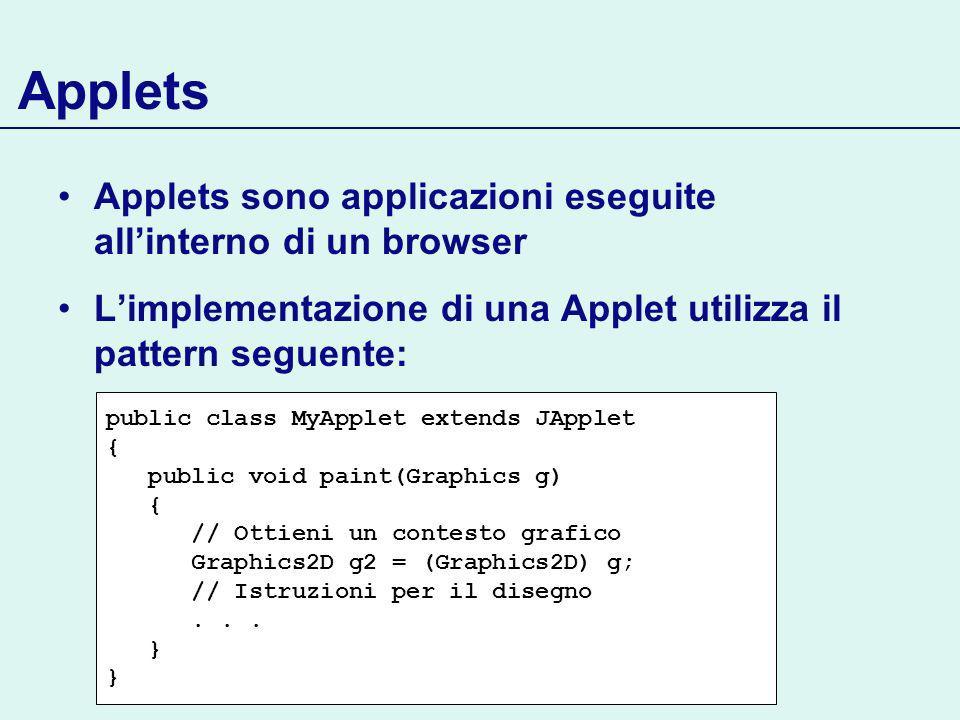 Applets Applets sono applicazioni eseguite allinterno di un browser Limplementazione di una Applet utilizza il pattern seguente: public class MyApplet extends JApplet { public void paint(Graphics g) { // Ottieni un contesto grafico Graphics2D g2 = (Graphics2D) g; // Istruzioni per il disegno...