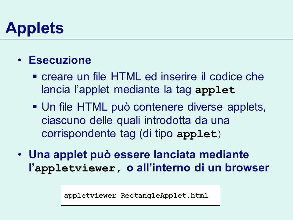 Applets Esecuzione creare un file HTML ed inserire il codice che lancia lapplet mediante la tag applet Un file HTML può contenere diverse applets, ciascuno delle quali introdotta da una corrispondente tag (di tipo applet) Una applet può essere lanciata mediante l appletviewer, o allinterno di un browser appletviewer RectangleApplet.html