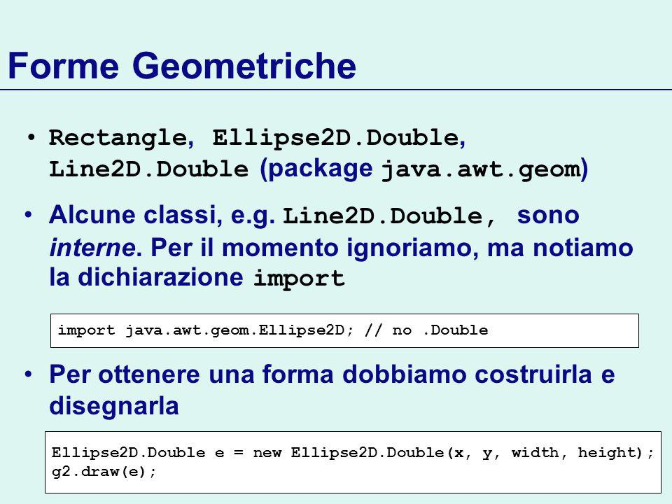 Forme Geometriche Rectangle, Ellipse2D.Double, Line2D.Double (package java.awt.geom ) Alcune classi, e.g.