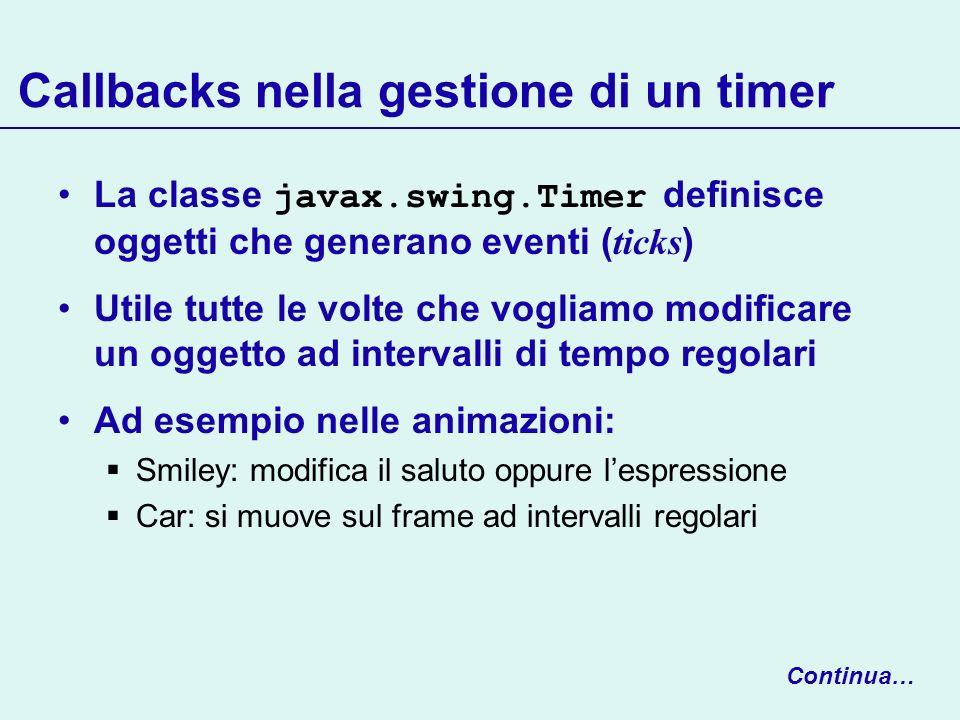 Callbacks nella gestione di un timer La classe javax.swing.Timer definisce oggetti che generano eventi ( ticks ) Utile tutte le volte che vogliamo mod
