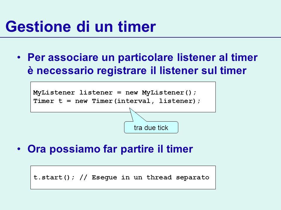 Gestione di un timer Per associare un particolare listener al timer è necessario registrare il listener sul timer Ora possiamo far partire il timer My