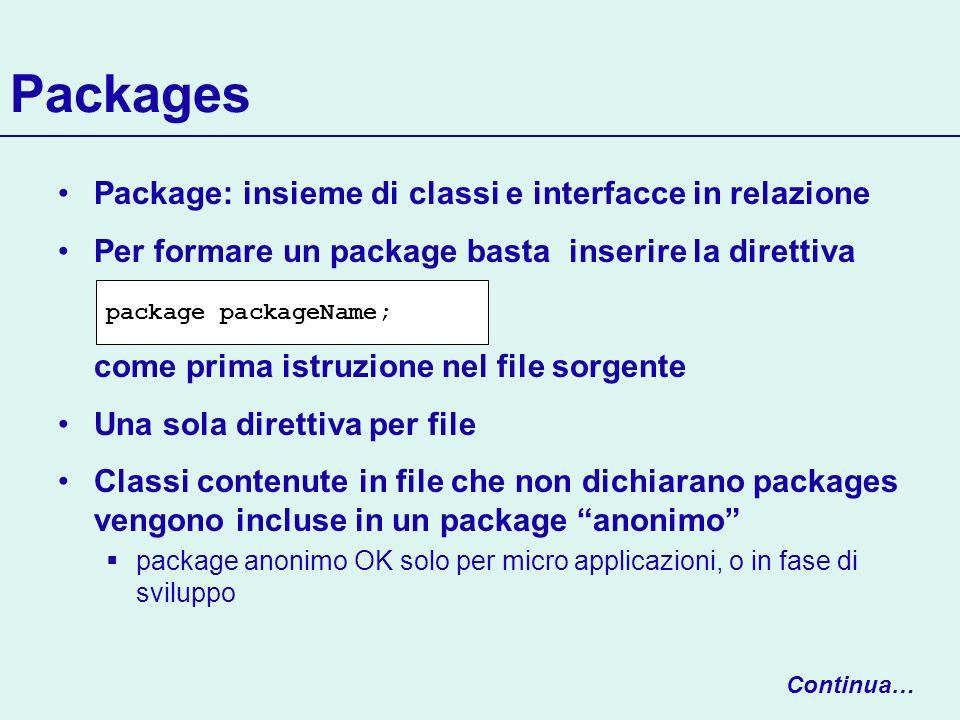 Packages Package: insieme di classi e interfacce in relazione Per formare un package basta inserire la direttiva come prima istruzione nel file sorgen
