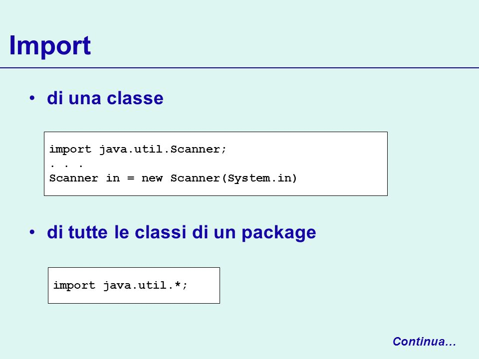 Import di una classe di tutte le classi di un package import java.util.*; import java.util.Scanner;... Scanner in = new Scanner(System.in) Continua…