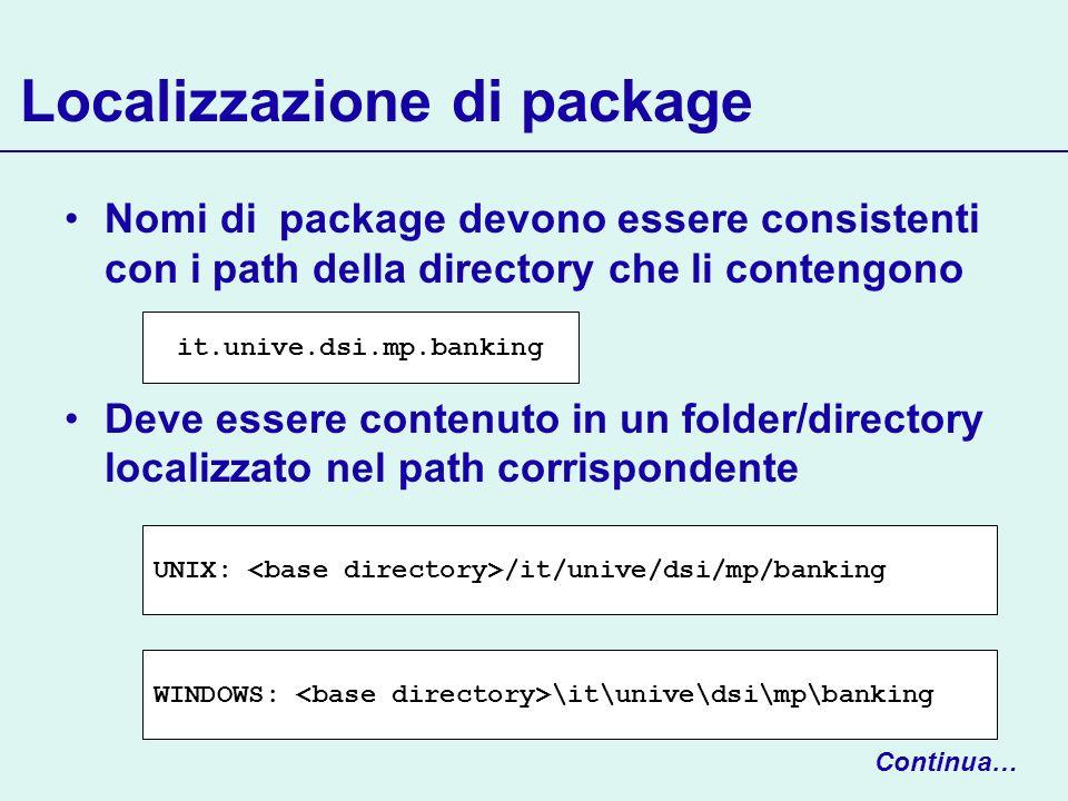 Localizzazione di package Nomi di package devono essere consistenti con i path della directory che li contengono Deve essere contenuto in un folder/di
