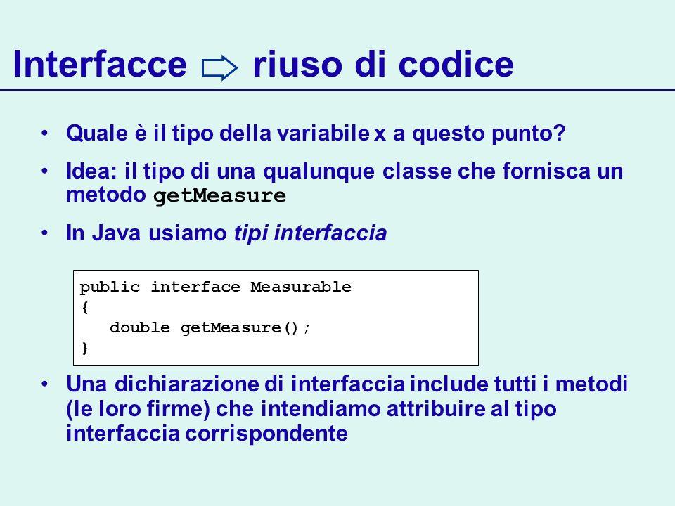 Interfacce riuso di codice Quale è il tipo della variabile x a questo punto? Idea: il tipo di una qualunque classe che fornisca un metodo getMeasure I