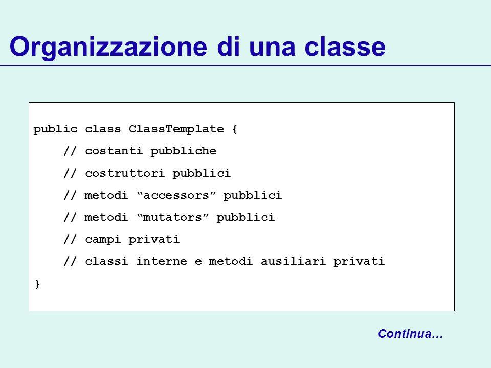 Organizzazione di una classe public class ClassTemplate { // costanti pubbliche // costruttori pubblici // metodi accessors pubblici // metodi mutator